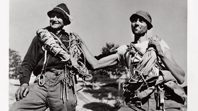 John Salathé and Ax Nelson on the north rim following their ascent of Lost Arrow Chimney, Labor Day, 1947.