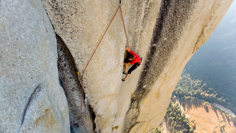 Tommy Caldwell free climbs The Nose on El Capitan. Yosemite National Park, California.