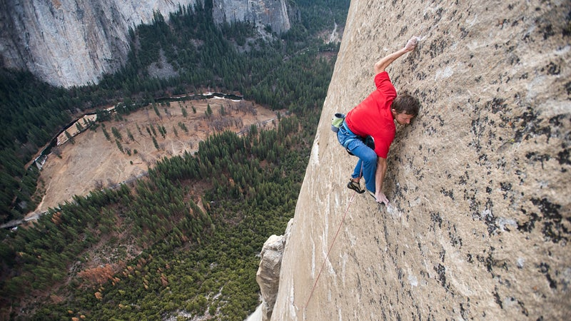 Tommy Caldwell on Pitch 19, rated 5.13d. After spending 19 days on the wall, Tommy Caldwell and Kevin Jorgeson reached the summit of El Capitan in Yosemite National Park for their historic first free ascent of the Dawn Wall (VI 5.14d) on January 14, 2015.