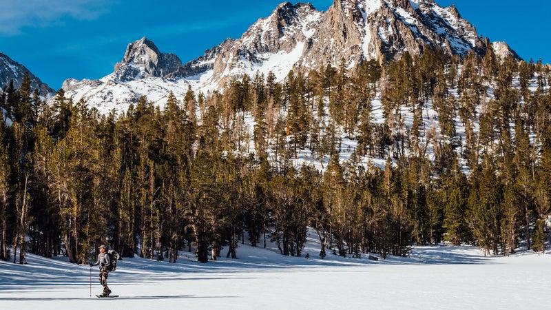 Matt snowshoes across a field near Bishop, California.