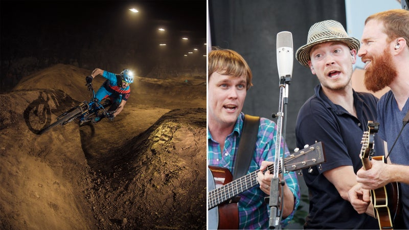 From left: Getting rad in the Louisville Mega Cavern; the 23 String Band performs at the Festival of the Bluegrass.