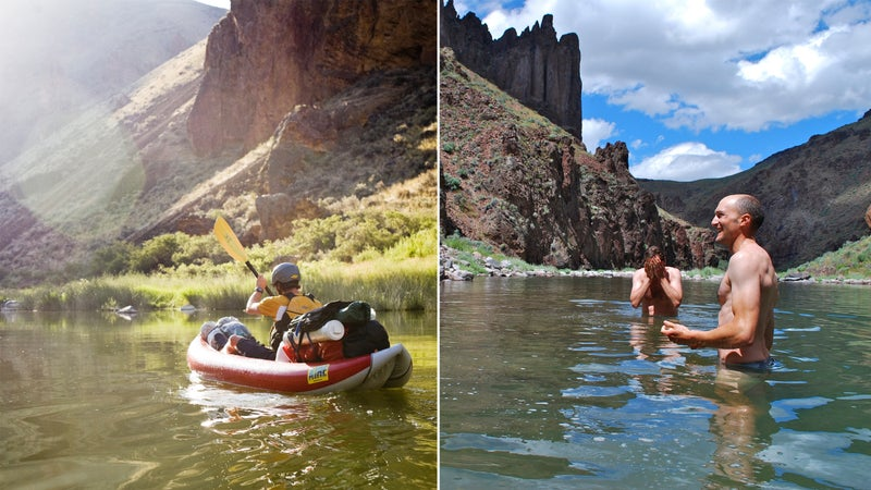 From left: The Owyhee River; cooling off in the Owyhee canyonlands.