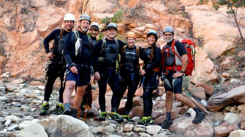 The group's last photo. From left: Gary Favela, Don Teichner, Muku Reynolds, Steve and Linda Arthur, Robin Brum, Mark McKenzie.