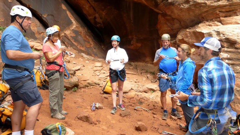 Members of the VHC receive training from Zion Adventure Company instructors Laura Dahl and B. J. Cassell.