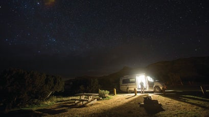 RV life: Pro skier Brody Leven and filmmaker Adam Clark took an adventure road trip through Utah and Colorado in search of powder, single track, and world-class climbing.
