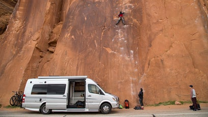 On day two, in Moab, the two and met up with a friend of Clark's and scaled a few pitches along Moab's River Road.
