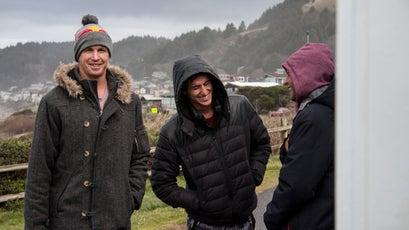 Pro surfer Jamie O'Brien and his crew entertain each other while they wait for the weather to break.