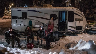 """The crew celebrates making it to the mountains and 72"""" of fresh powder at Mount Hood by grilling up some steaks."""