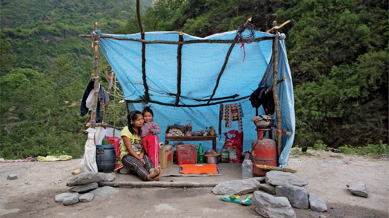 A shelter in Sindhupalchok days after the quake