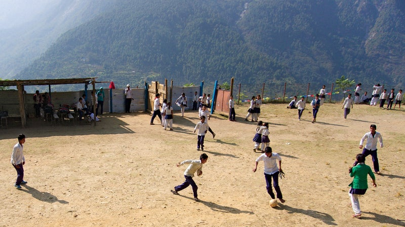 Playing soccer in Gati, in the hard-hit district of Sindhupalchok