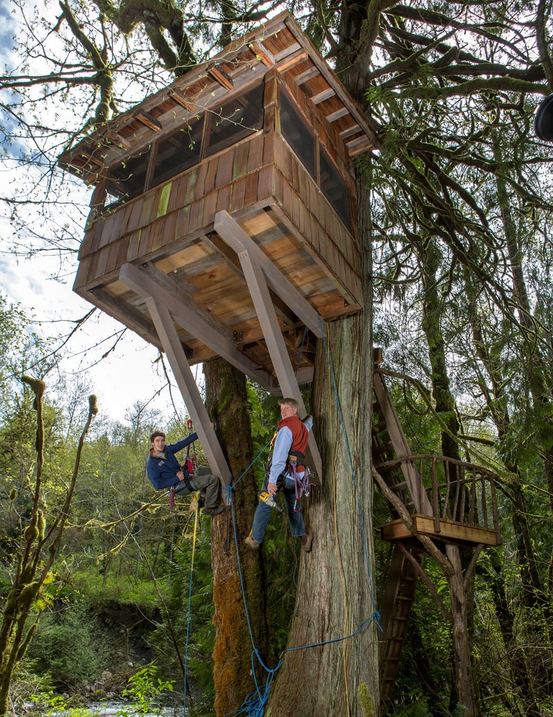 Pete Nelson and his son Charlie hang as they work on a treehouse at Treehouse Point.