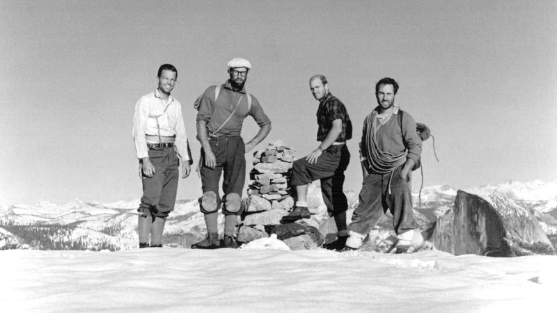 Photo of rock climbers (left to right): Tom Frost, Royal Robbins, Chuck Pratt, and Yvon Chouinard on the summit of El Capitan on October 30, 1964, following the 10-day ascent of the North America Wall.