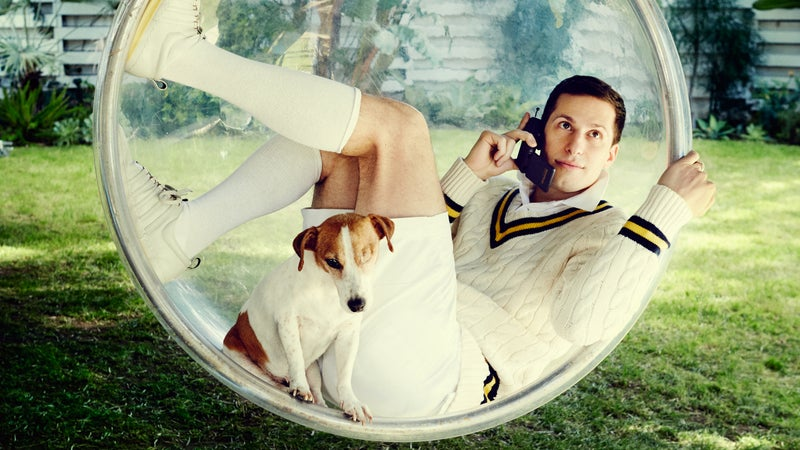Samberg, right, and introducing Cedric the dog, left.