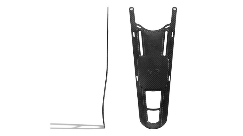 The Icon Pro frame in finished form. Side-on (left), and from-the-front (right).