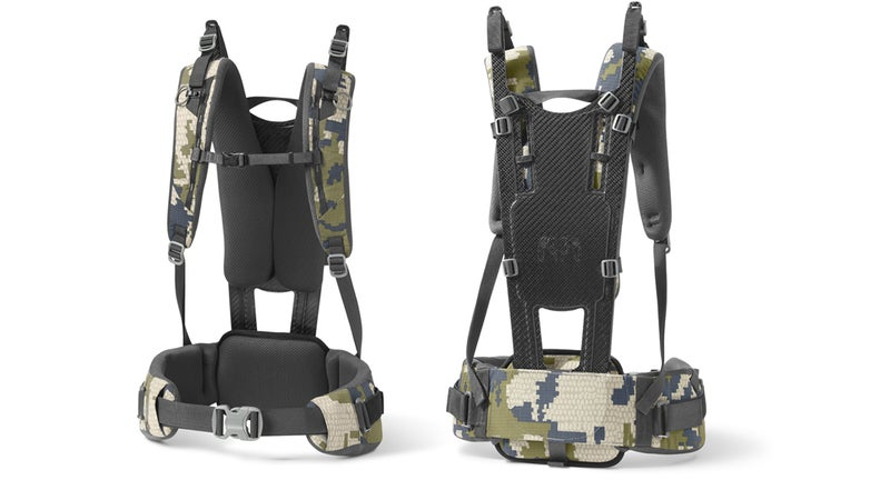 Connected to the carbon frame are robust, heavily padded shoulder and hip straps. They're comfortable, up to the pack's capacity.