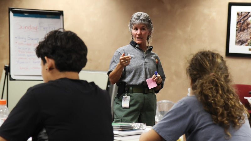 Bequi Livingston instructs the Women in Wildland Fire bootcamp near Albuquerque in 2014. Livingston started the boot camps in 2012 to give women a supportive place to break into the overwhelmingly male wildfire corps.