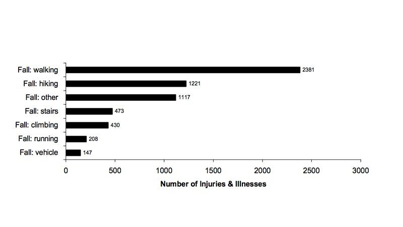 National Park injuries from falls, 1993-1998.