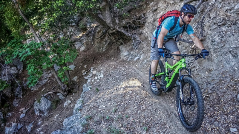 The Turbo Levo has no problems on narrow single-track. Ty's excited to be out riding again, after more than a year spent fighting staph infections that resulted from a botched knee surgery.