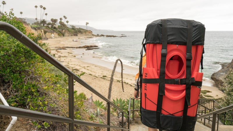 It's not the world's most comfortable backpack, but it's enough to easily get the boat from your car to the beach.