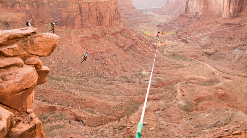 """Floating """"space nets"""" lure an international crowd of slackliners and BASE jumpers to the Fruit Bowl."""