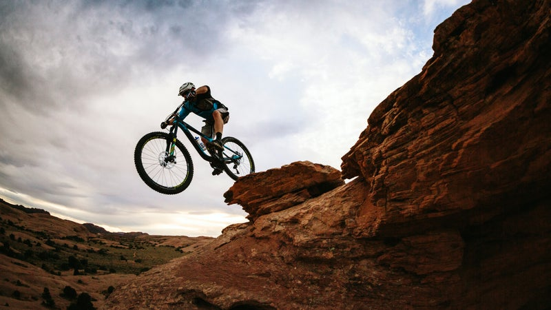 Mountain-biking Moab's Slickrock Trail.