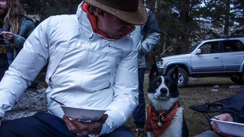 Sansho contemplates murdering me for showing up to the campout in a matching outfit. OutDry Extreme Eco works as well when it's a part of a cold weather layering system as it does when it's just keeping the rain off over a t-shirt.