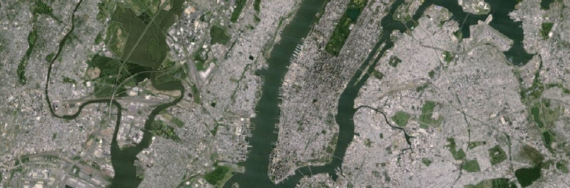 Manhattan, as photographed by the old Landsat 7 satellite.