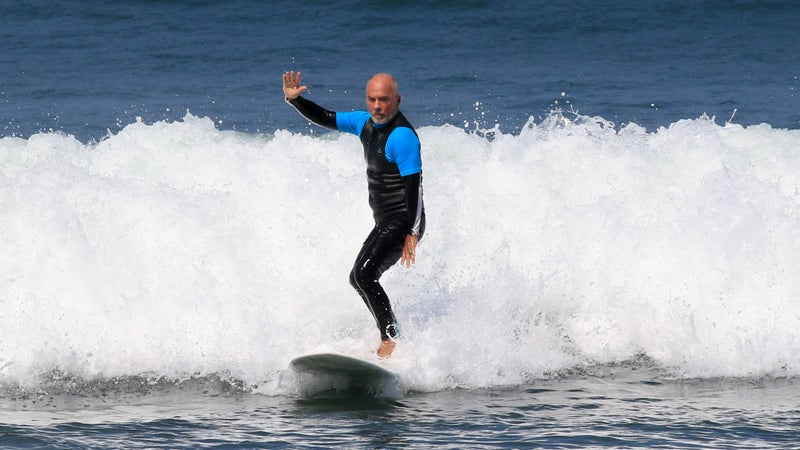 Burke practicing the Surf Simply technique.