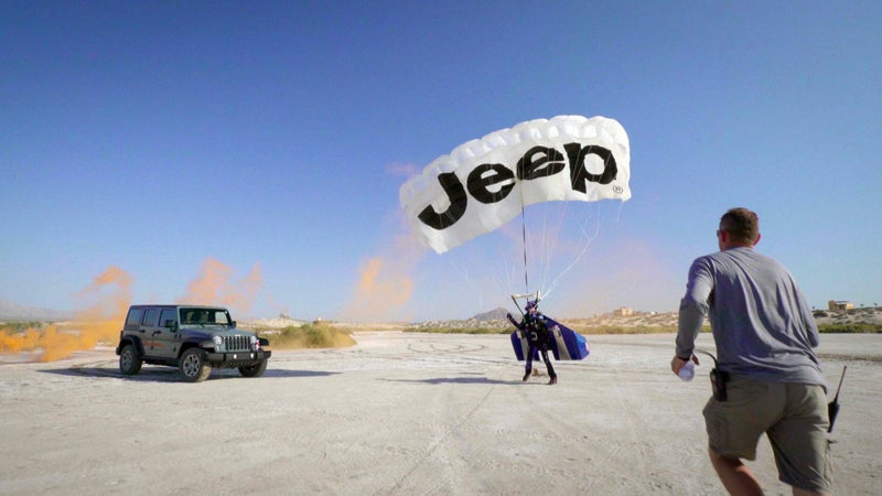 Rex lands on the sand flats in Baja, Mexico after flying through the sky at 150 miles per hour.