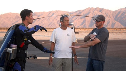 Rex talks with his team before his first jet-powered flight.