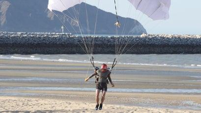 Rex lands on the beach in San Felipe in Baja, Mexico after a successful flight.
