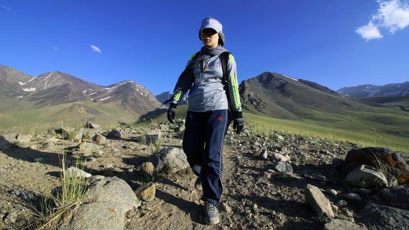 Zainab treks the Koh-e Baba mountains during the sports summit.