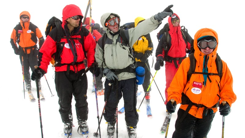 Benitez points the way during the 2002 Seven Summits Expedition on Mt. Elbrus.