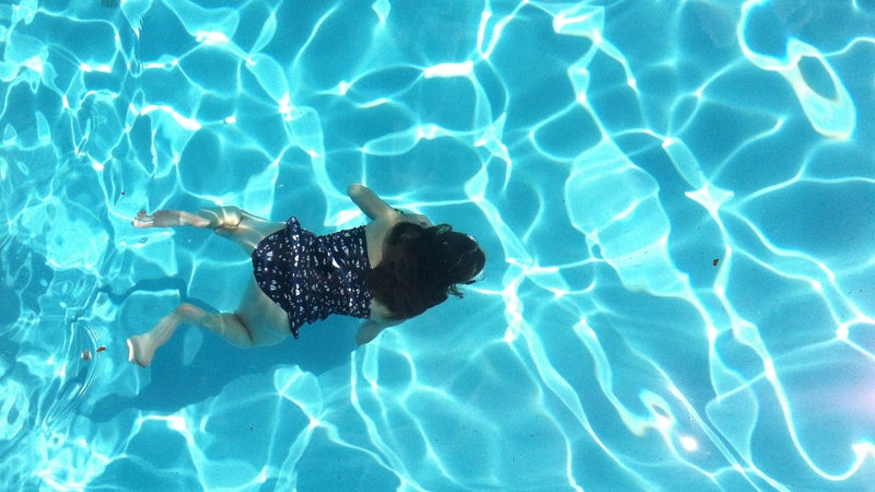 Eliot swimming in Virginia, about six months before her arthritis symptoms emerged.