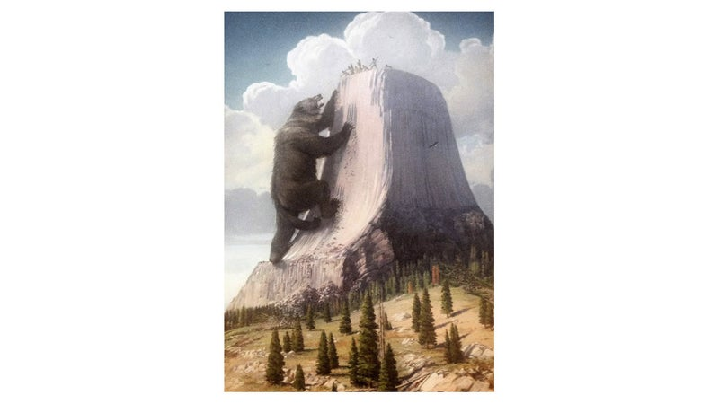This oil painting by Herbert A. Collins has hung in the Devil's Tower National Monument Visitor Center since 1937, and now it's available online. It depicts Kiowa legend of the rock formation's genesis.