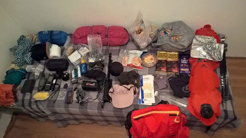 Loncke's spread for his latest trek across the Simpson Desert.