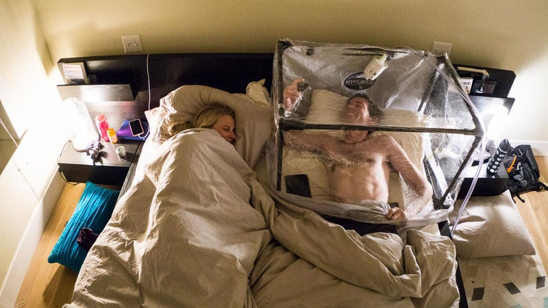 To prep for their latest expedition, Ballinger and Harrington have been sleeping in hypoxic tents.