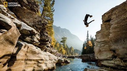 Seeking out deep pools to dive into is a passion for Steven Donovan, who took a seasonal job at Glacier so he could spend his free time exploring the park.