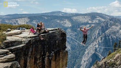 Tied to a highline over a 65-foot span at Yosemite National Park in California, Tyler Meester seeks a new thrill as he tries the sport for the first time.