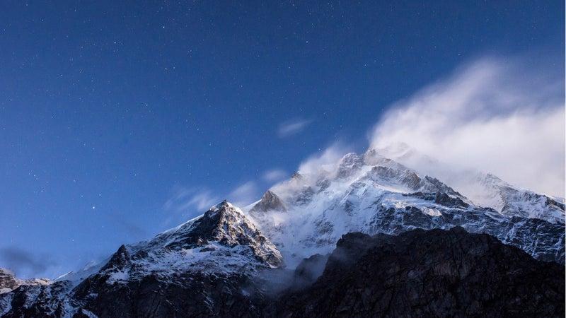 Clouds above Nanga Parbat summit in the winter.