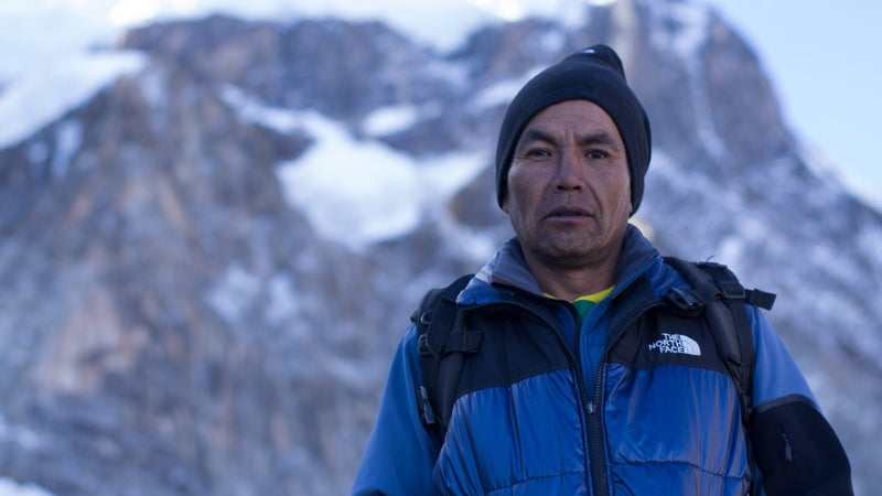Jose Lazo in front of Mount Illimani.