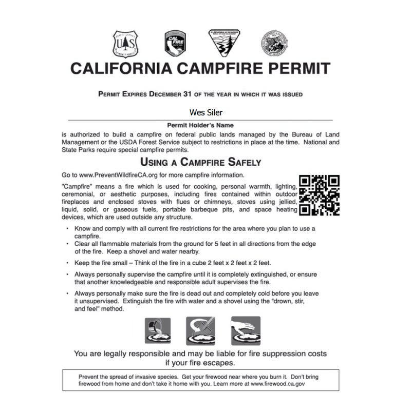My California campfire permit. I have to carry this with me on every camping trip, or I could be fined thousands of dollars or even face jail time.