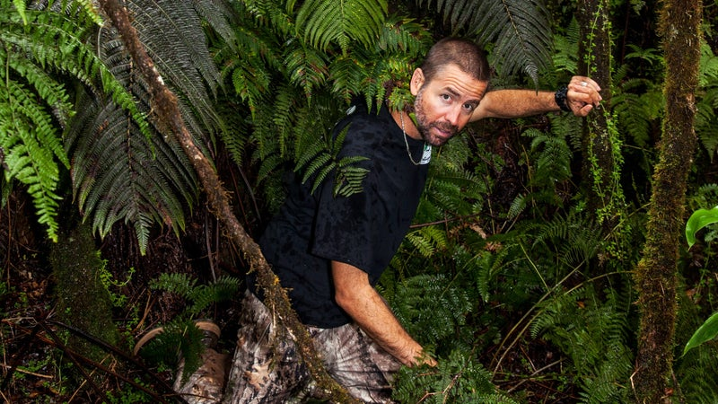 Andre Raine at work in the jungle.