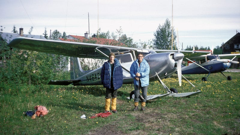 Matt Hale (left) and Roberts on an airstrip in Talkeetna, Alaska, before their flight to Mount Huntington.