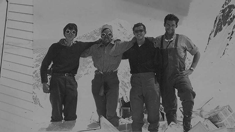 Left to right: Matt Hale, Don Jensen, Roberts, and Ed Bernd standing in front of Mount Huntington.