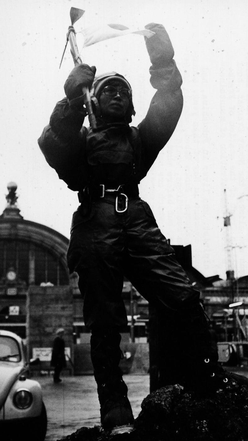 Tabei giving a climbing demonstration, circa 1975.