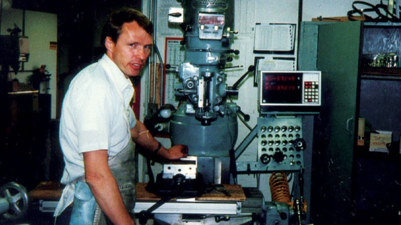 Tim, working in a friend's dad's machine shop in the early '80s. His is one of the great American inventor success stories of our time.