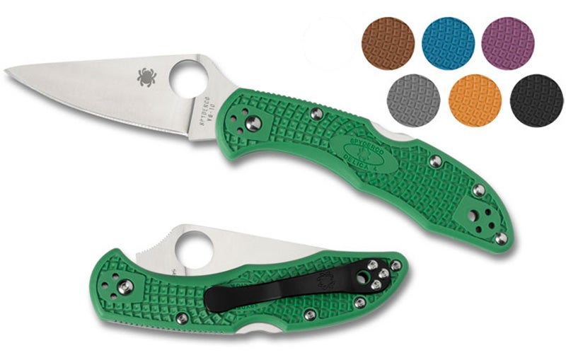 Available in a variety of steels and colors, the Spyderco Delica 4 FFG is an excellent knife for any user. Great blade, good handle, acceptable pocket clip.