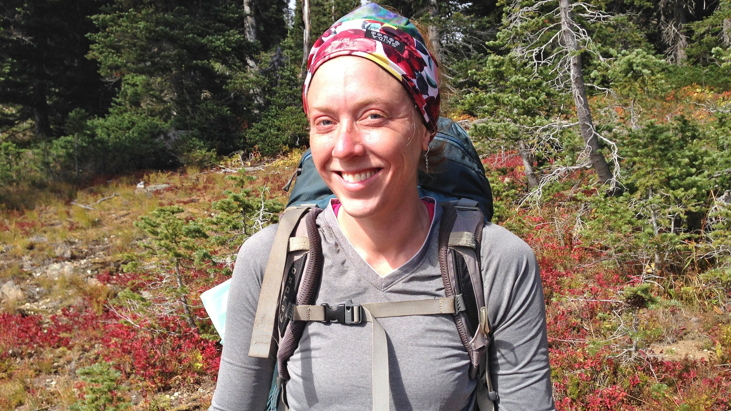 """Emily Ketty, 30 Trail Name: Pancakes  Lake Placid, New York """"I'm stronger than I think. I love to eat: Corn Nuts, Twizzlers red vines—all junk. I still love Knorr sides. Cous-cous forever. Pop-Tarts need some sort of container though. They crumble too easily in the foil wrapper. I'll still continue to eat them but they'd be better if they were in one piece."""""""