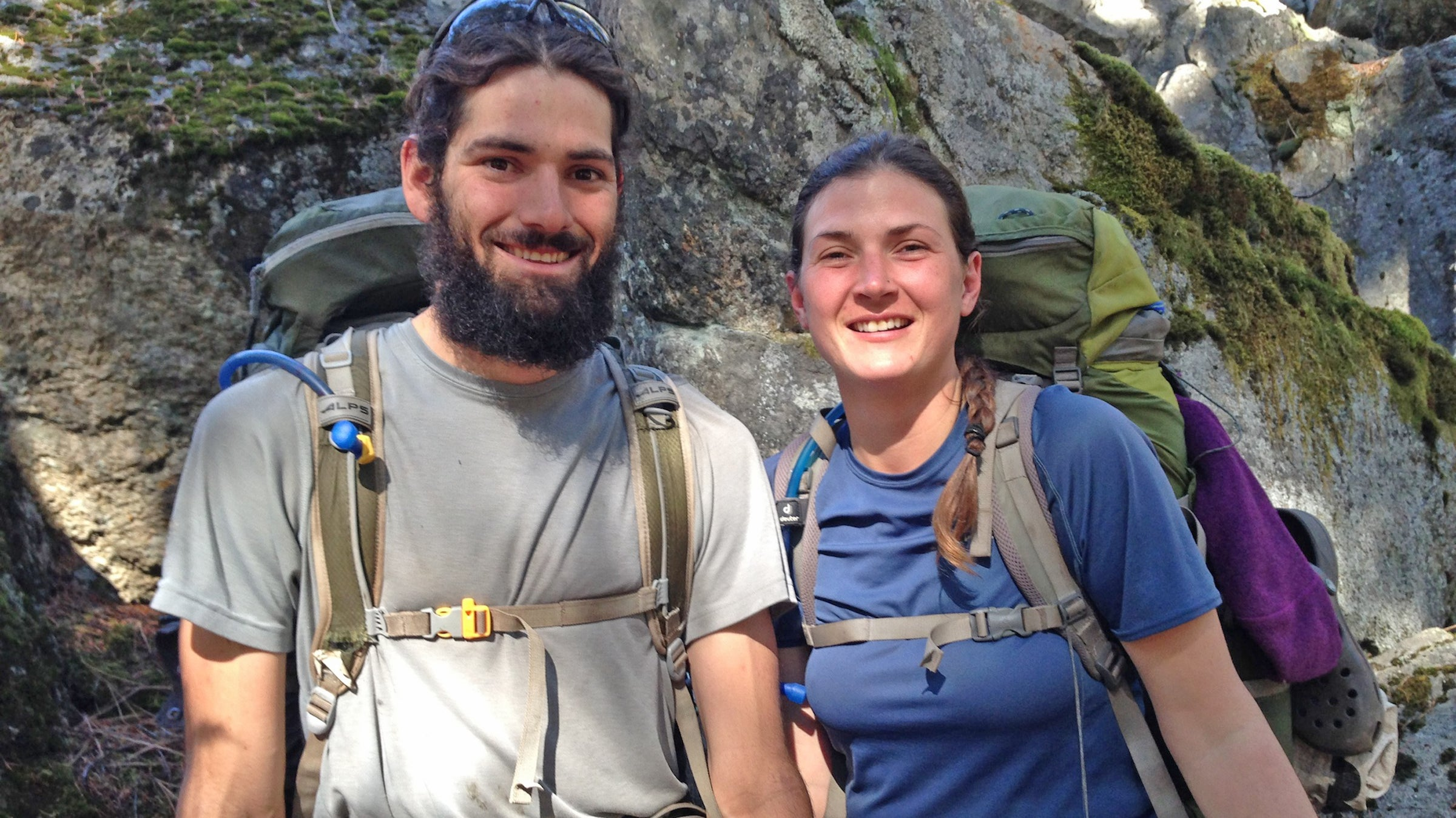 """Rico Colomb (left) and Mandy Torres, 26 and 32 Trail Names: Cup and Ladybug  Windsor, California  Ladybug: """"Hiking over the passes in the Sierras was a lot scarier than I thought it was going to be. Before the trip, I thought that if I got stung by a bee, I'd die, but I got stung twice by a bee and I am still here!""""  Cup: """"I learned I'm capable of going through a lot more misery than I thought I was. I can hike a lot farther in a day than I thought. Biggest day was 29 miles. At the start I did a 14-mile day and thought I was going to die."""""""